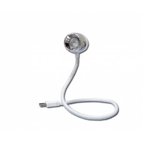 Flexo LED USB Blanco 1 Led de 0,5W con Cuerpo Flexible Modelo Bangkok
