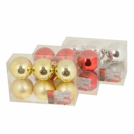 Set 6 bolas de navidad ø6cm rojas