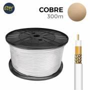 Carrete coaxial 100% cobre 300mts edm (bobina grande)