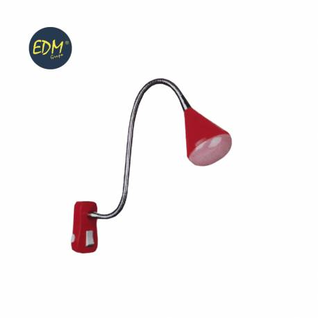 "Flexo led clavija 4w modelo ""athens"" color rojo 220-240v cuello flexible edm"