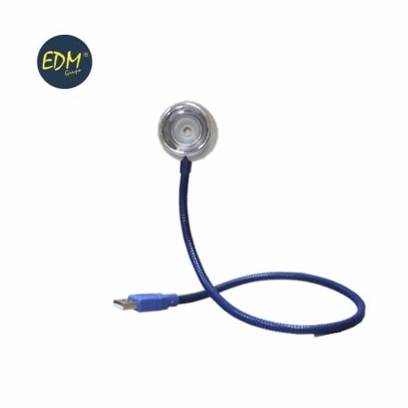 "Flexo usb led modelo ""bangkok"" 0,5w cuello flexible color azul 220-240v edm"