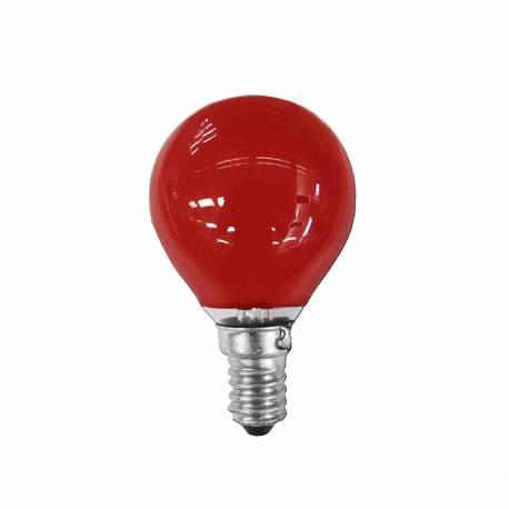 Bombilla esferica e14 25w 220/240v roja