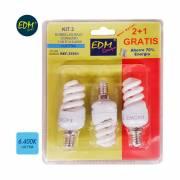 Pack 3 bombillas bajo consumo micro espiral e-14 11 w luz fria 6400k edm