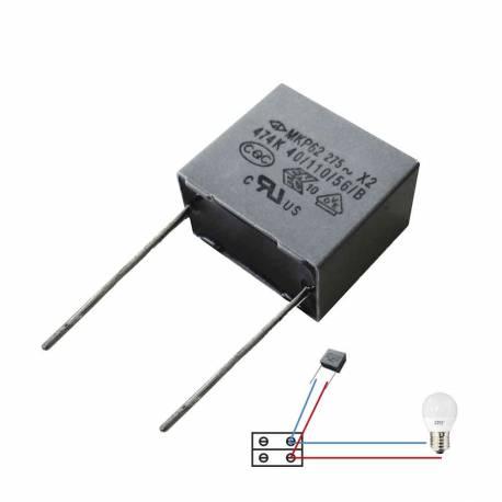 Condensador para bombilla e iluminacion led o bajo consumo