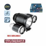 Linterna recargable para bicicleta y cabeza  1led 10w +2leds 3w cargador y bateria inclu.