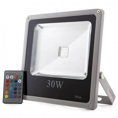 Foco Proyector de LEDs para Exterior ECOLINE 30W RGB con Mando a Distancia