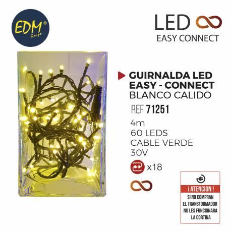 GUIRNALDA LUMINOSA LED EASY-CONNECT 4MTS 60 LEDS BLANCO CALIDO IP44