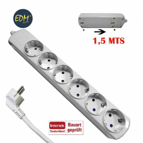 Base multiple 6 tomas easy-fix 3x1,5 1,5mts t/tl 10/16a edm
