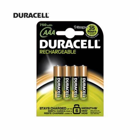 Pila recargable r3 aaa 750mah (blister 4 pilas) duracell