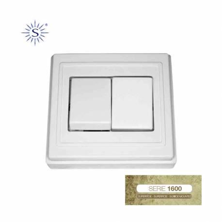 Doble interruptor 6a blanco/nieve solera