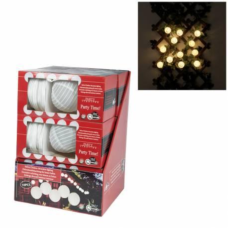 *ult. unidades*  guirnalda uso interior  20 leds -3xaa no incluidas- longitud total 6mts - 40cm entre bolas - bolas de 15cm