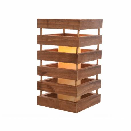 *ult. unidades* lampara led de madera 15x28cm interior